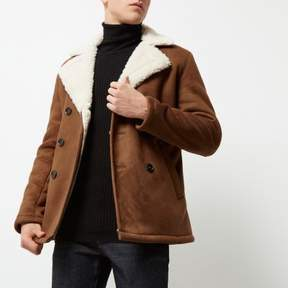 River Island Mens Brown double breasted fleece collar pea coat
