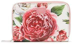 Dolce & Gabbana Rose And Peony Print Leather Wallet - Womens - Pink White