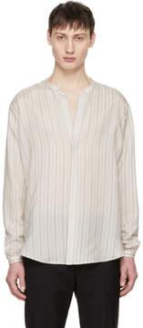 Saint Laurent White Striped Tunisian Collar Shirt