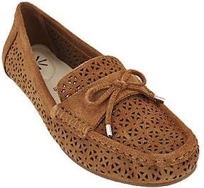 Isaac Mizrahi Live! Perforated Suede Moccasinswith Bow