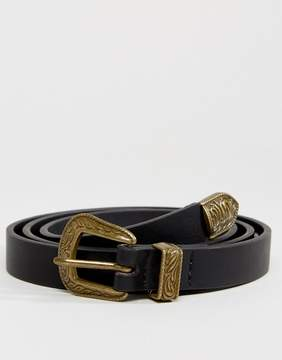 Asos Skinny Western Belt In Black Faux Leather