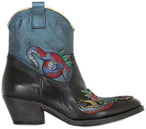 Elena Iachi 50mm Embroidered Leather Boots