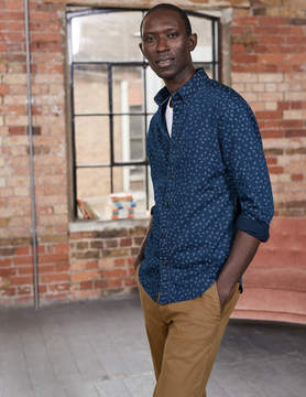 Boden Slim Fit Printed Indigo Shirt