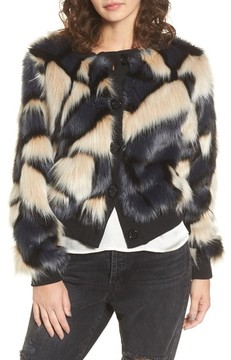 Band of Gypsies Women's Patchwork Faux Fur Jacket