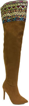 Bamboo Cognac Dedicate Embellished Over-the-Knee Boot - Women