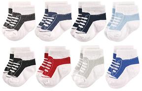 Hudson Baby Black & Blue Sneaker Eight-Pair Socks Set