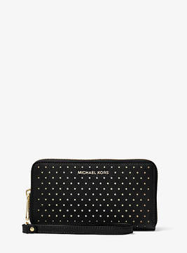 Michael Kors Jet Set Perforated Leather Smartphone Wristlet - BLACK - STYLE
