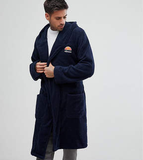 Ellesse Lounge Robe With Embroidered Logo In Navy