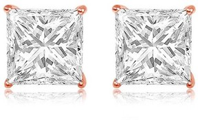 Alpha A A CZ 14kt Rose Gold Square Stud Earrings, 6mm
