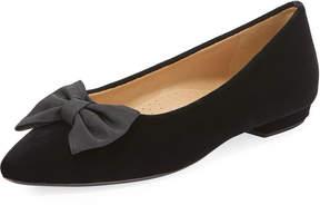 Neiman Marcus Gervin Velvet Flat w/ Bow, Black