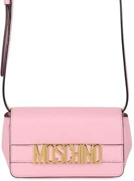 Moschino Logo Lettering Leather Shoulder Bag