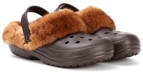 Christopher Kane Mink fur-trimmed Crocs