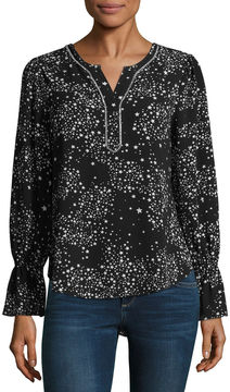 Libby Edelman Long Sleeve Star Print Top