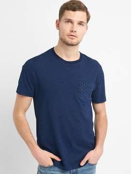 Gap Indigo Print Crewneck Pocket T-Shirt