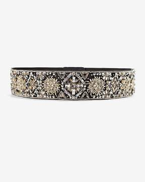 White House Black Market Metallic Beaded Stretch Belt