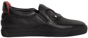 Fendi Monster 3d Eyes Leather Slip-On Sneakers