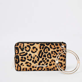 River Island Black leather leopard print wristlet pouch