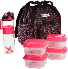 Fit & Fresh Pink Weave Abigail Four-Piece Insulated Backpack Set