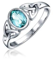 Celtic Bling Jewelry Blue Topaz Triquetra Knot Sterling Silver Ring.