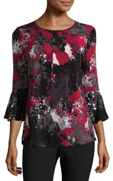Context Abstract Bell Sleeve Top