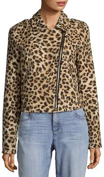 C&C California Women's Leopard Print Moto Jacket