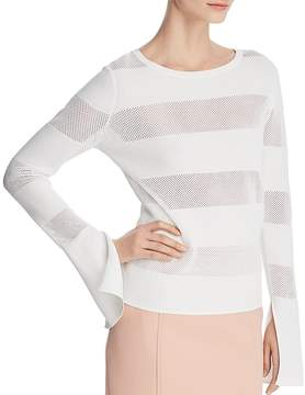 BOSS Frangy Striped Mesh Top