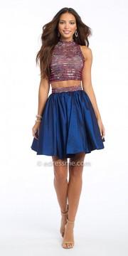 Camille La Vie Beaded Two Piece Taffeta Homecoming Dress