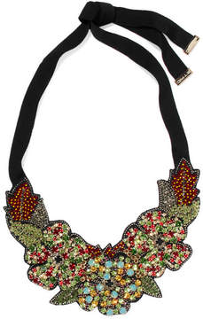 Etro Silver-tone, Crystal, Bead And Felt Necklace - Green