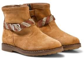 Pom D'Api Pom Dapi Brown Velour Twist Trip Boots