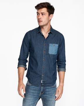 Express Slim Color Block Denim Shirt