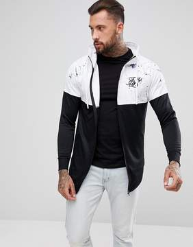 SikSilk Track Hoodie In White With Marble Print