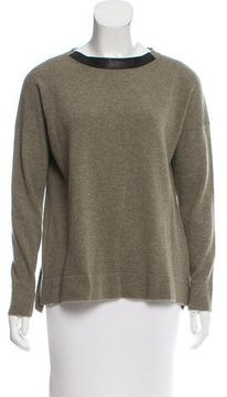 Cividini Leather-Trimmed Cashmere Sweater