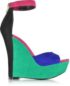 Balmain Zia Multicolor Suede Wedge Sandal