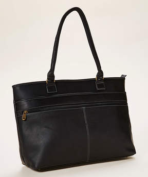 Le Donne Black Fauna Leather Executive Tote