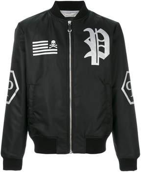 Philipp Plein logo patch bomber jacket