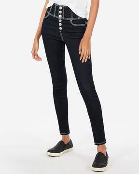Express Super High Waisted Button-Fly Stretch Jean Ankle Leggings