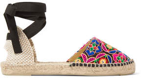 Manebi Mirror-embellished Embroidered Canvas Espadrilles - Pink