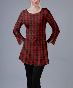 Azalea Red & Black Geometric Long-Sleeve Tunic - Women & Plus