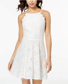 BCX Juniors' Scalloped Daisy Lace Fit & Flare Dress