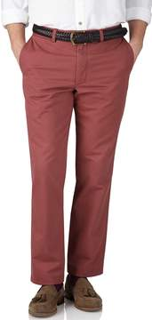 Charles Tyrwhitt Light Red Slim Fit Flat Front Weekend Cotton Chino Pants Size W32 L34