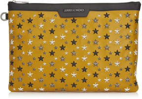 Jimmy Choo DEREK Mustard Leather Document Holder with Multi Metal Stars
