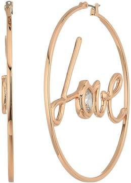 Betsey Johnson Blue by Rose Gold Tone Hoops and 'Love' Detail with CZ Stone Accent Earrings Earring