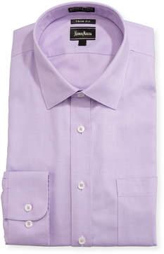 Neiman Marcus Non-Iron Trim-Fit Grid Dress Shirt, Lavender