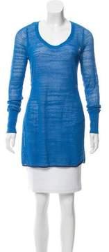 White + Warren Open-Knit Long Sleeve Sweater