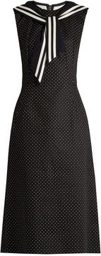 DOLCE & GABBANA Sailor-collar polka-dot print drill dress