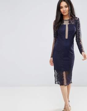 AX Paris Navy Long Sleeve Lace Midi Dress