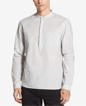 DKNY Men's Banded-Collar Grid-Print Shirt