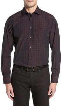Luciano Barbera Men's Trim Fit Windowpane Print Sport Shirt