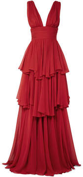 Caroline Constas Paros Tiered Chiffon Maxi Dress - Crimson