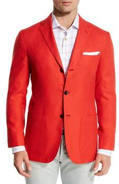 Kiton Cashmere Three-Button Blazer, Coral
